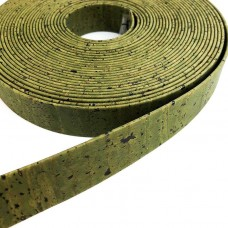 Army Green Flat cork Leather cord - 20mm x 2mm (European product) - REF-