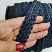 Cork Cording - 20mm flat cork braid Dark / Navy Blue - Portuguese cork 1 Meter - REF-