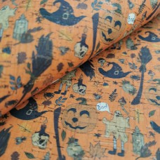 Cork leather - Portuguese cork fabric printed pattern halloween on natural cork ()