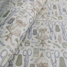 Cork leather - Portuguese cork fabric sewing printed pattern on white cork ()