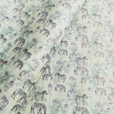 Cork leather - Portuguese cork fabric printed pattern zebras on green aqua cork ()