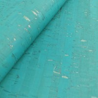 Cork leather - Portuguese cork fabric rustic blue lagoon