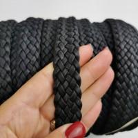 Cork Cording - 20mm flat cork braid Black - Portuguese cork 1 Meter - REF-