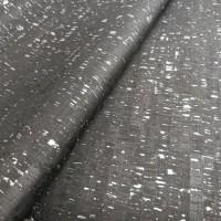 Cork leather - Portuguese cork fabric rustic black with silver