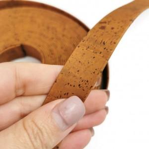 Cinnamon Flat cork Leather cord - 20mm x 2mm (European product) - REF-