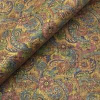 Cork leather - Portuguese cork fabric SMA colorful golden flowers