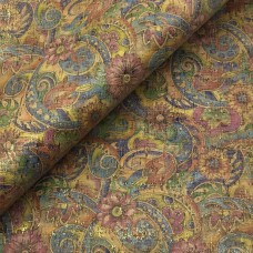 Cork leather - Portuguese cork fabric SMA colorful golden flowers