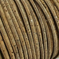 1 m/39 in of tabac cork cord with golden flecks of 3 mm REF-