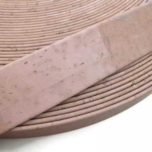 Light Pink Flat cork Leather cord - 20mm x 2mm (European product) - REF-