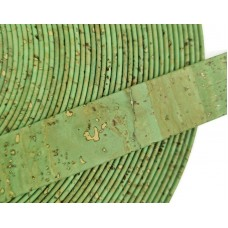 Royal Green Flat cork Leather cord - 20mm x 2mm (European product) - REF-