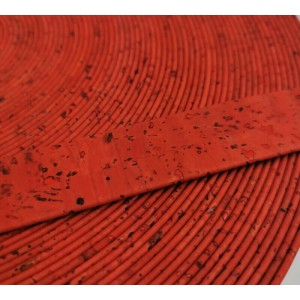 Coral Flat cork Leather cord - 20mm x 2mm (European product) - REF-