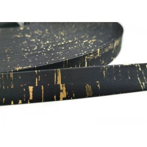 Black with golden flecks Flat cork Leather cord - 20mm x 2mm (European product) - REF-