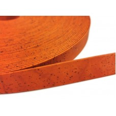 Orange Flat cork Leather cord - 20mm x 2mm (European product) - REF-