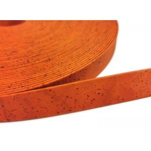 Orange Flat cork Leather cord - 20mm x 2mm (European product) - REF-