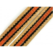 Natural Flat cork Leather cord with black and orange lace - 18mm x 2mm (European product) - REF-