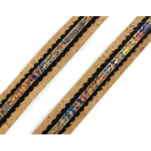 Natural Flat cork Leather cord with black and colorful lace - 18mm x 2mm (European product) - REF-