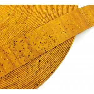 Yellow Flat cork Leather cord - 30mm x 2mm (European product) - REF-