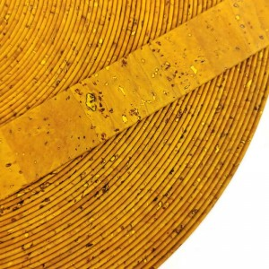 Yellow Flat cork Leather cord - 20mm x 2mm (European product) - REF-