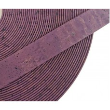 Purple Flat cork Leather cord - 20mm x 2mm (European product) - REF-
