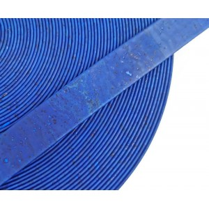 Royal Blue Flat cork Leather cord - 20mm x 2mm (European product) - REF-