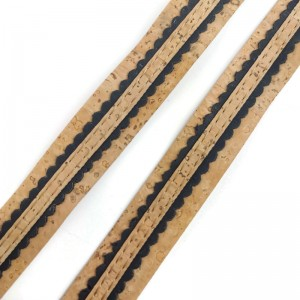 Natural Flat cork Leather cord with black and natural lace - 18mm x 2mm (European product) - REF-