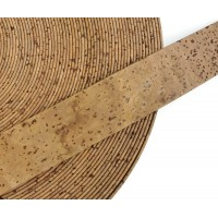 Tabac Flat cork Leather cord - 30mm x 2mm (European product) - REF-