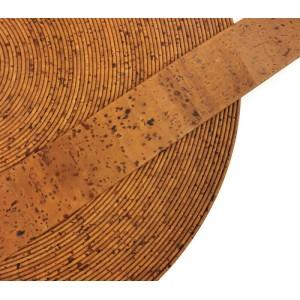 Cinnamon Flat cork Leather cord - 30mm x 2mm (European product) - REF-