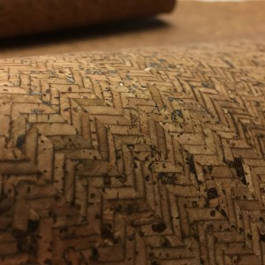 Portuguese Cork leather, Cork Fabric Herringbone Brown 50x65 cm