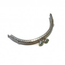 12.5cm / 5in Flower bead half circle embossed lace metal bag purse frame green with sewing holes two loops F12.5/521