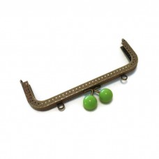 18cm Colored bobble green antique brass sewing purse frame two loops  F18/1159
