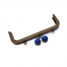 18cm Colored bobble blue antique brass sewing purse frame two loops  F18/1162