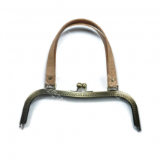 27 cm/10,63 in Antique brass sewing purse frame  Natural cork and PU Leather Handle - FH09