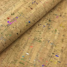 Cork leather - Portuguese cork fabric natural with metallic rainbow