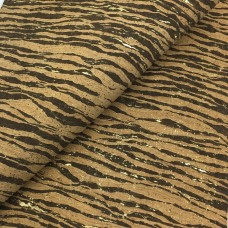 Cork leather - Portuguese cork fabric natural with brown stripes and golden flecks