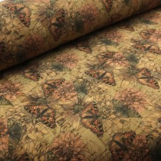 "Cork leather, green product, Portuguese cork fabric Printed pattern 68x50cm / 27.50""x20"" (040)"