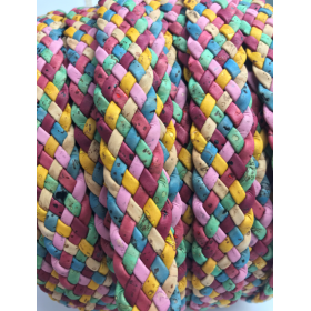 Cork Cording - 20mm flat cork braid Colourful - Portuguese cork 1 Meter - REF-526