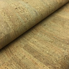 Cork leather - Portuguese cork fabric tabac with golden flecks