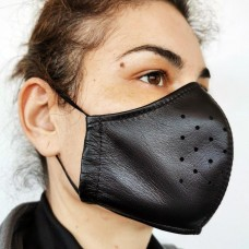 Black Leather Adult Face Mask with Filter, Leather Face Mask Reusable, Washable Mask