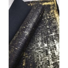 "Black Rustic with golden Portuguese cork fabric 68x50cm / 27.50""x20"""