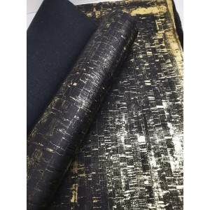 Cork leather - Portuguese cork fabric rustic black with golden