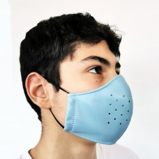 Blue Leather Adult Face Mask with Filter, Leather Face Mask Reusable, Washable mask