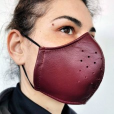 Bordeaux Leather Adult Face Mask with Filter, Leather Face Mask Reusable, Washable mask