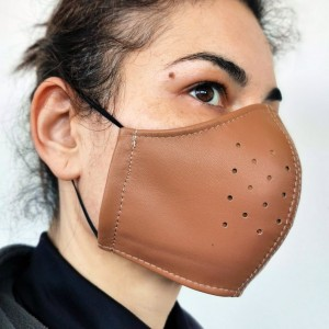 Brown Leather Adult Face Mask with Filter, Leather Face Mask Reusable, Washable mask