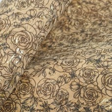 "Cork leather, green product, Portuguese cork fabric brown roses with gold Printed pattern 68x50cm / 27.50""x20"" (123)"