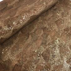 Cork leather - Portuguese cork fabric brown with golden flecks