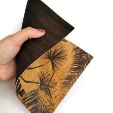 Double sided Cork Fabric Brown and Tropical 15 x 22 cm / 5.91''x8.66""