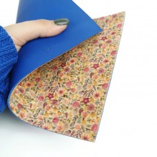 Double sided Cork Fabric Royal Blue applied to little flowers 15 x 22 cm / 5.91''x8.66""