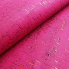 "Portuguese cork leather - Rustic Cork Fabric Pink Fuchsia 50x68 cm / 27.50""x20"""