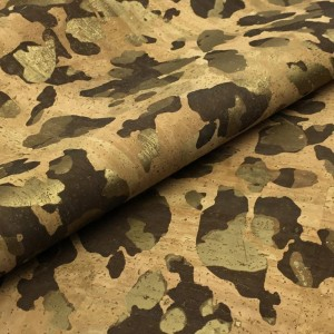 Cork leather - Portuguese cork fabric natural with golden camouflage