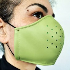 Green Leather Adult Face Mask with Filter, Leather Face Mask Reusable, Washable mask